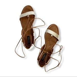 WHBM / white & brown ankle tie strap sandals / 7.5